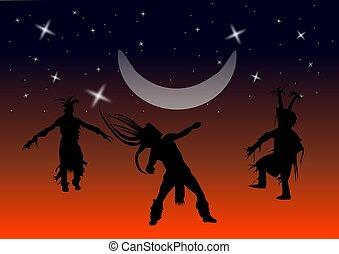 norteamericano, bailarines, nativo