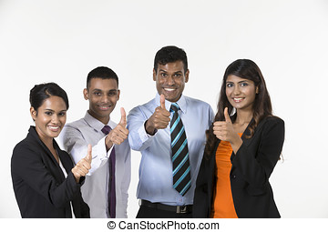 Team of happy Indian business people with Thumbs Up....