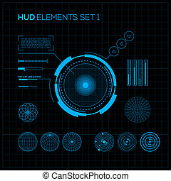 HUD and GUI set Futuristic User Interface Vector...
