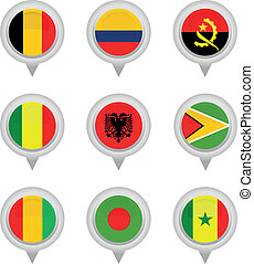 Set of Map flag icon, Vector