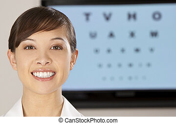 Beautiful Optician - A beautiful female optician shot with...