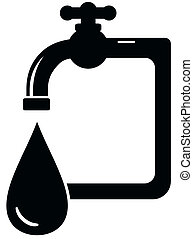 black isolated icon faucet - sanitation symbol