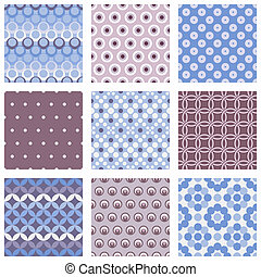 set of circle seamless patterns - vector illustration