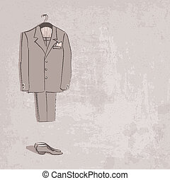 sketch groom suit - vector illustration