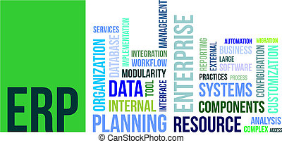 word cloud - erp - A word cloud of enterprise resource...