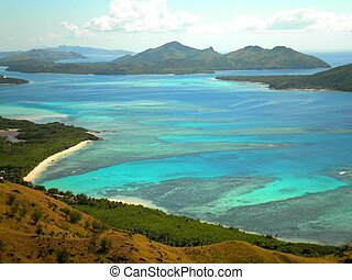 Fiji Aerial View - Aerial view of the Yasawa Islands in...