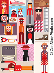People - Bizarre people vector illustration. Art collage of...