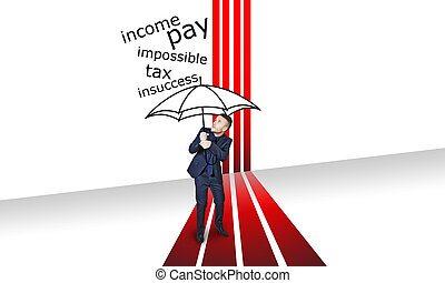 rain problem with red lines and black umbrella