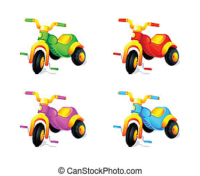Child 3-wheel car - Child colorful 3-wheel toy cars isolated