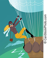 Correspondent - Blond woman in aviator's clothes and goggles...
