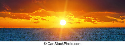 Beautiful sunset over the ocean - Beautiful sunset over the...