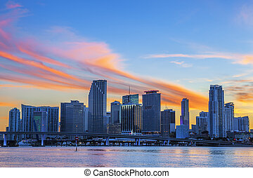 Miami sunset cloud - CIty of Miami Florida, summer sunset,...