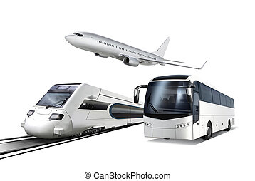 Collage of transport - Collage of plane, train and bus...