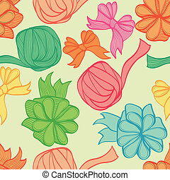 Background with bows and ribbons - Seamless hand drawn...