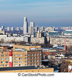 above view of residential district in Moscow