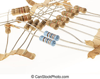 Resistors macro isolated on white