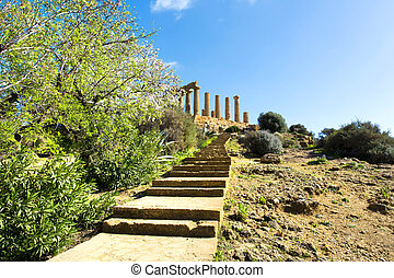 Temple of Juno Valley of the Temples in Agrigento on Sicily,...