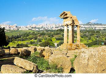 Ancient Greek Temple of the Dioscuri (V-VI century BC),...