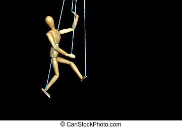 Manipulation - Artist model used as a puppet with strings.