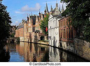 Steenhouwersdijk Bruges Belgium - the canal Steenhouwersdijk...