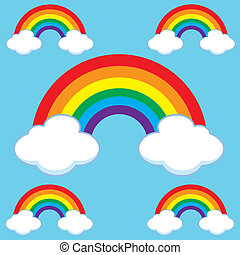 Cartoon Rainbows & Cloud Set - Set of cartoon rainbows...