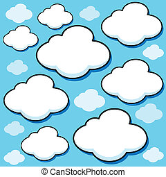 Cartoon Vector Clouds - Set of puffy white cartoon vector...