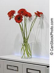 ramo, vidrio,  gerberas, rojo, florero