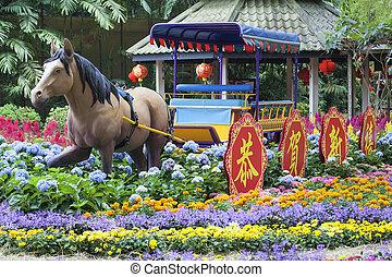 Chinês, Novo, ano, cavalo, decoração,...
