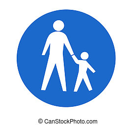 Traffic sign for pedestrians on a white background