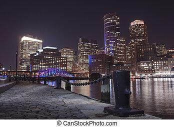 Boston Harbor and Financial District in Boston, Massac