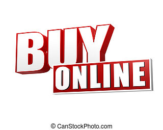 buy online in 3d letters and block - buy online text - 3d...
