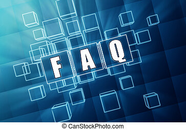 faq in blue glass cubes