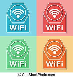wifi symbol, four colors web icons - wifi sign - four colors...
