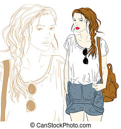 Cute fashion girl with bag vector illustration