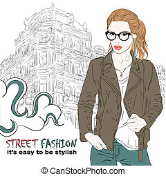Fashion girl with glasses on the street vector illustration