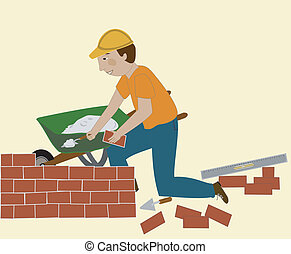 The Bricklayer - Man in a hard hat sets brick and mortar. He...