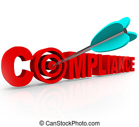 Compliance word in red 3d letters to illustrate aiming for...