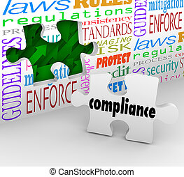 Compliance wall hole and puzzle piece to help you finish complying with important laws, guidelines, regulations, policies and standards in business or other organization