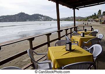 ocean front beach thatched roof restaurant nicaragua -...