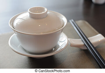 Chinese dinner set on table.