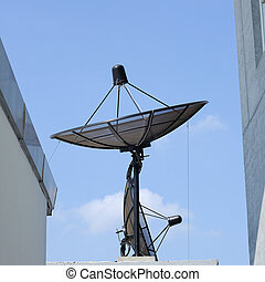 Single satellite dish with blue sky