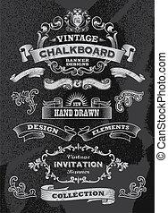 Hand drawn blackboard banner set - Hand drawn blackboard...