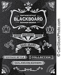 Chalkboard banner and ribbon set. Vintage retro chalkboard...