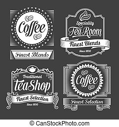 Vintage Coffee and tea labels. Vector designs on a black...