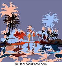 Beach in the tropics, vektor illustration.