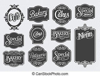 Calligraphic vector sign and label