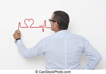 Charting a heartbeat on the wall