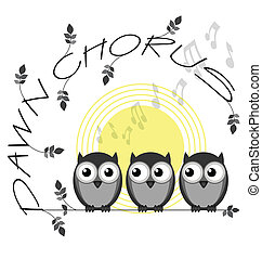 Dawn Chorus - Monochrome dawn chorus twig text isolated on...