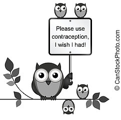 Contraception - Comical use contraception message isolated...