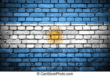Brick wall with painted flag of Argentina